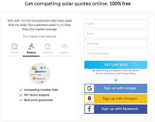Get Live Bids with Pick My Solar