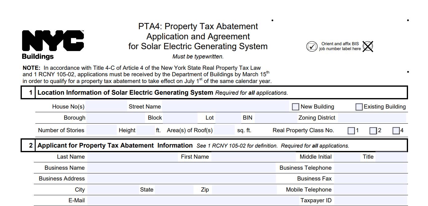NYC-Tax-Abatement-Application-Form