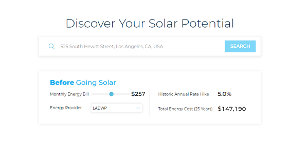 Solar Calculator for California Address
