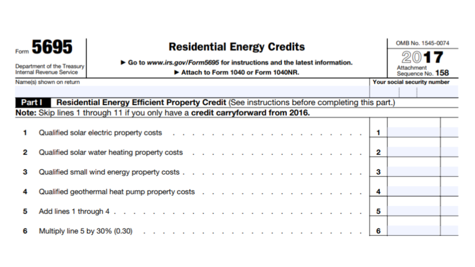 IRS Form 5695 Residential Energy Credits