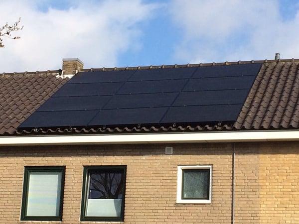 black frame, black backing, wired solar panel